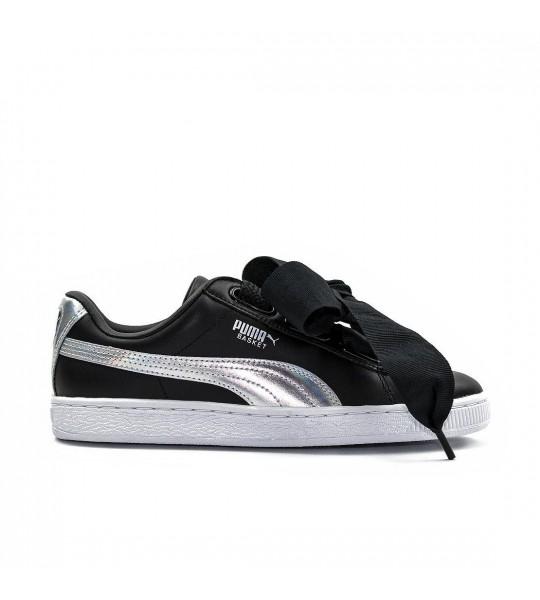 18c0e25af9777 Zapatillas PUMA Basket Heart Glitter black silver